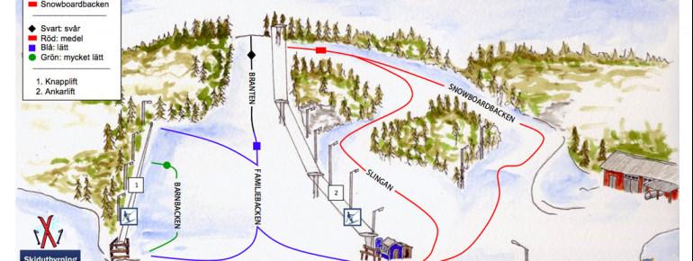 Pistenplan Asbybacken - Asby Alpina