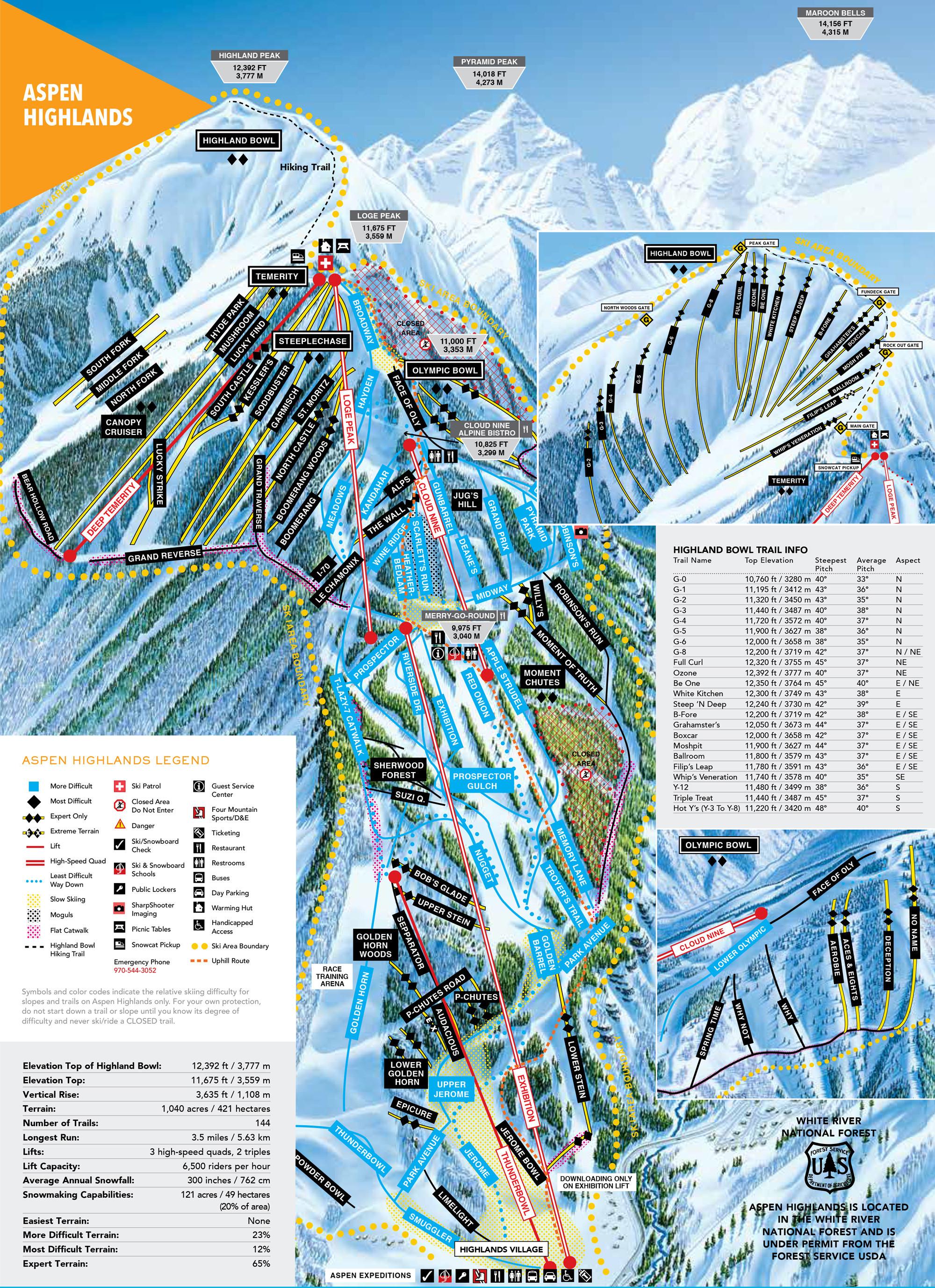 Pistenplan von Aspen Highlands