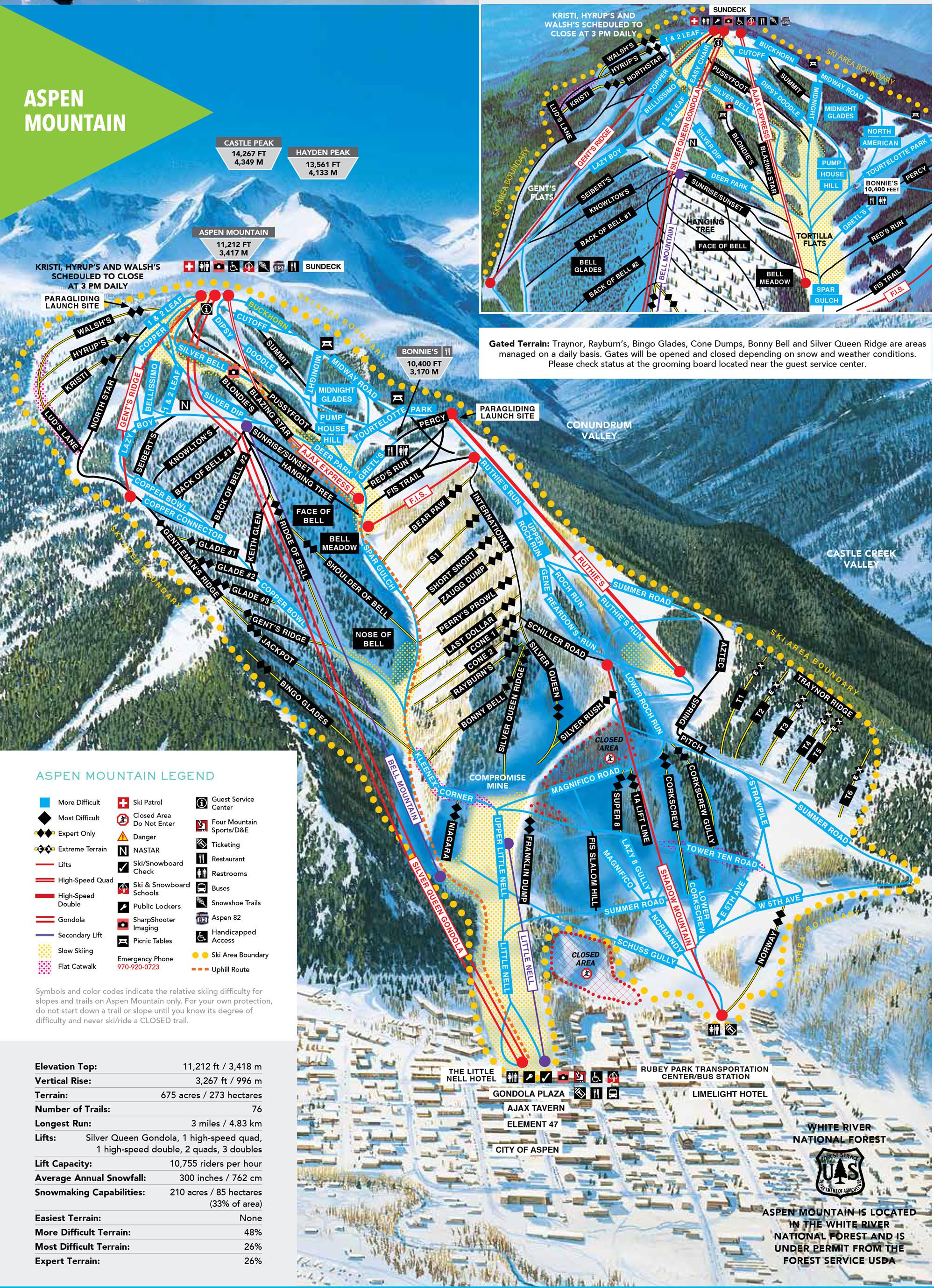 Pistenplan von Aspen Mountain