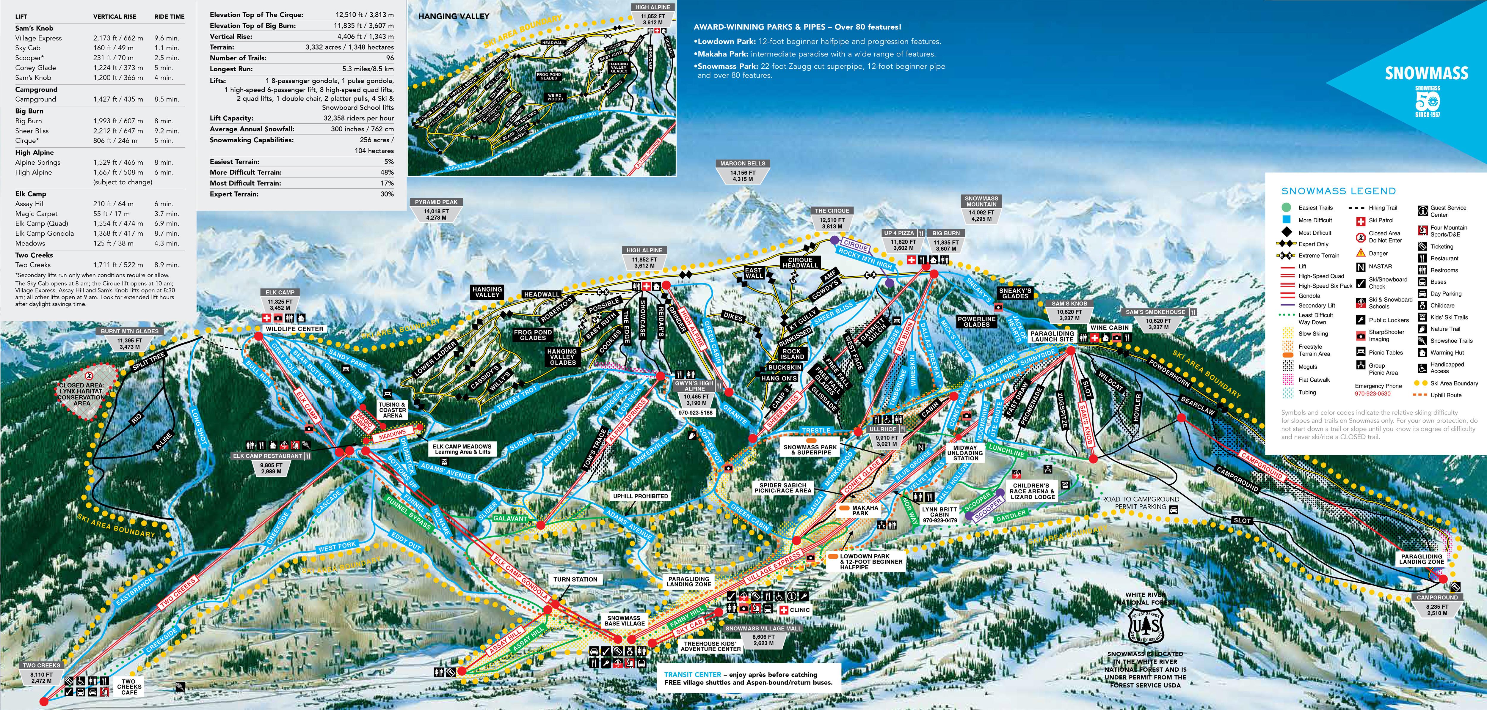 Pistenplan von Aspen Snowmass