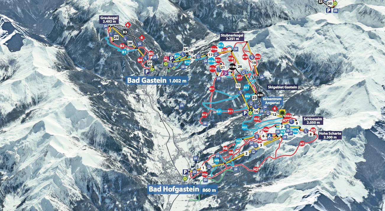 Pistenplan Bad Gastein - Bad Hofgastein • Offene Lifte