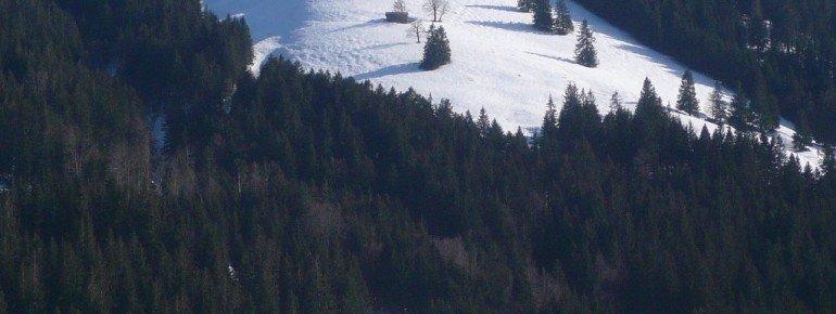 Blick auf den Hochschelpen und die Variantenabfahrt – Slalomhang (14)!
