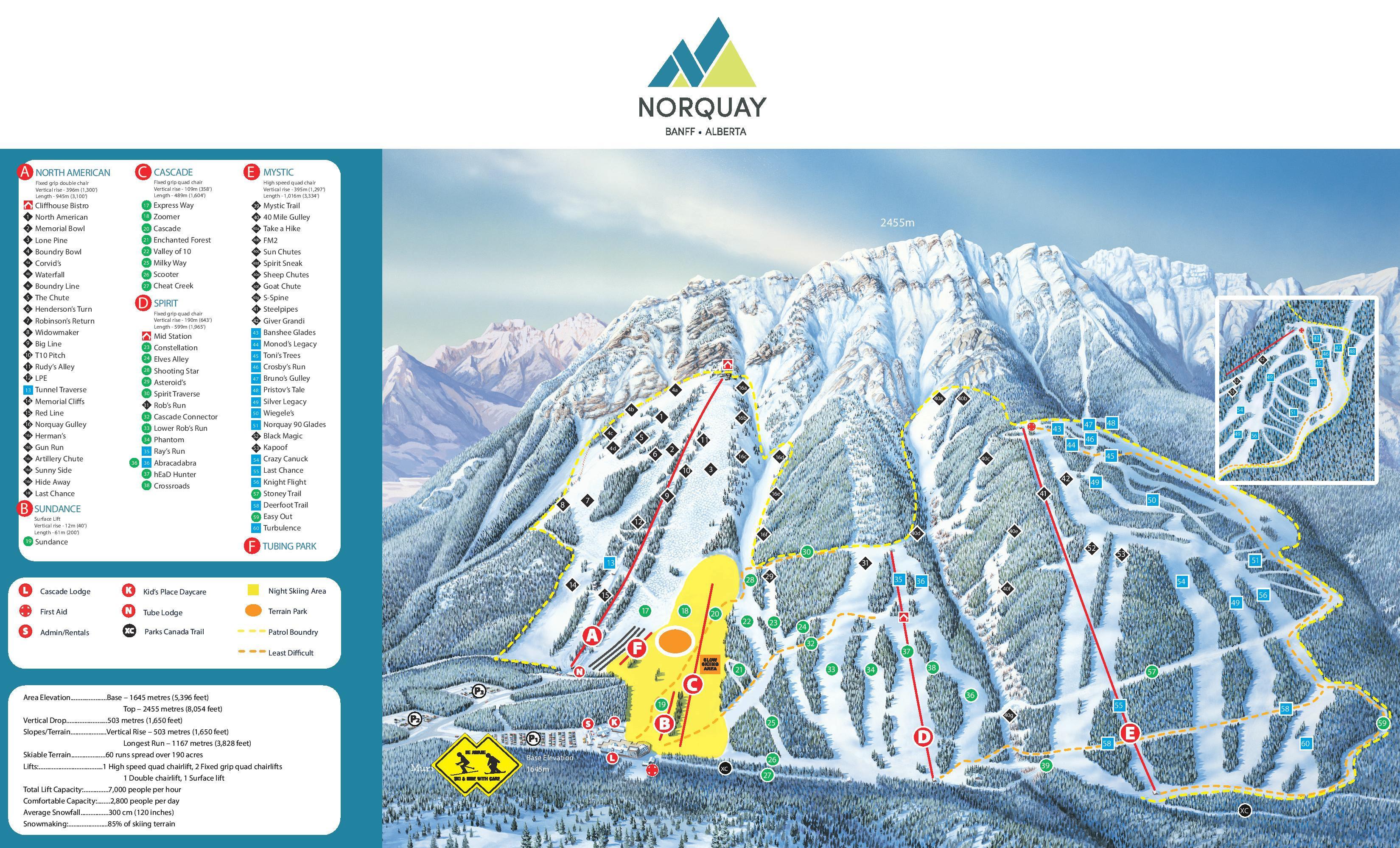 Pistenplan von Banff Mount Norquay
