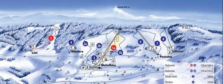 Pistenplan Bedrichov (Friedrichswald)