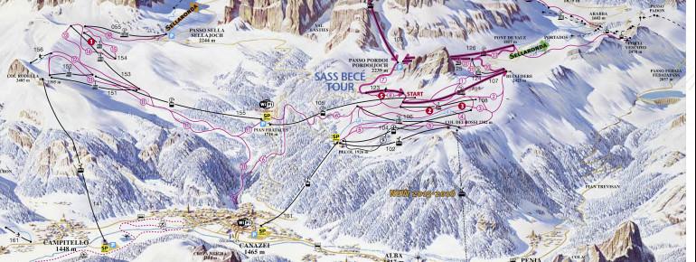 Pistenplan Belvedere - Col Rodella - Passo Pordoi
