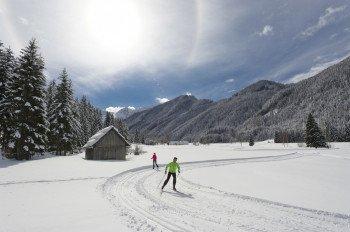 Langlaufen im Naturschutzgebiet Bodental ist aufgrund der schönen Landschaft ein besonderes Vergnügen.