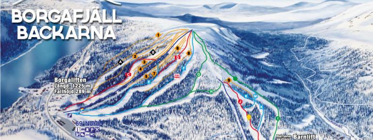 Pistenplan Borgafjäll Backarna - Borga Ski Center