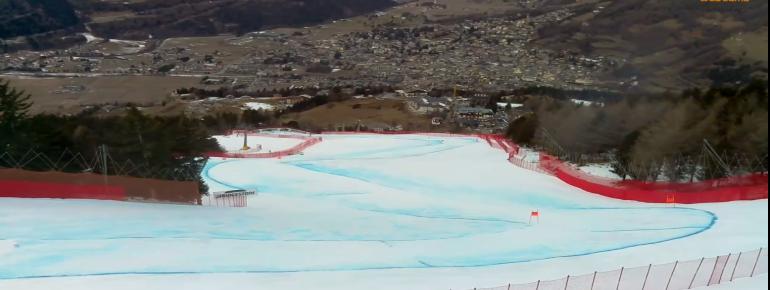 Die Weltcuppiste Stelvio endet direkt in Bormio. Hier ein Blick aus der Webcam.