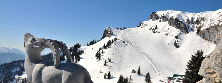 Blick ins Skigebiet Brauneck