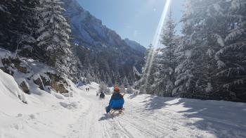 Nach dem Skifahren ist Rodeln angesagt.