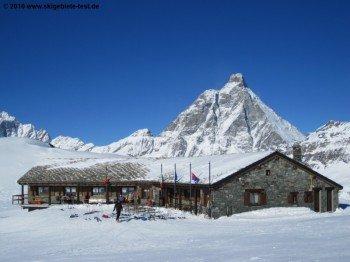 Hütte mit Matterhornblick am Ende der Abfahrt Nr.35!