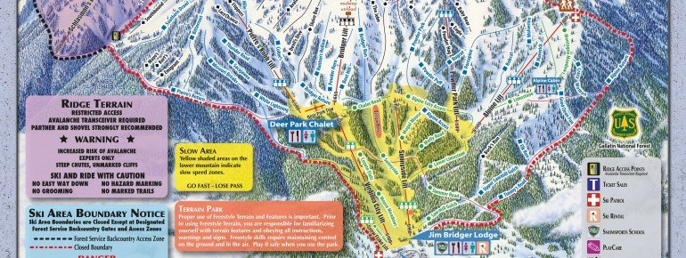 Pistenplan Bridger Bowl Ski Area