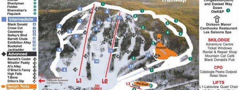 Pistenplan Calabogie Peaks Resort