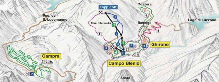 Pistenplan Campo Blenio Ghirone