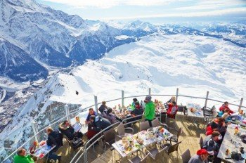 Mittagspause mit Sicht auf den Mont Blanc