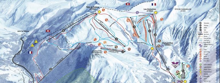 Pistenplan Col de Balme (Vallée de Chamonix)