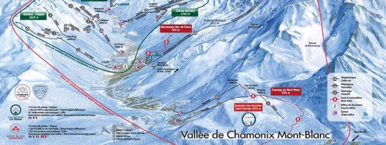 Pistenplan Chamonix Mont Blanc