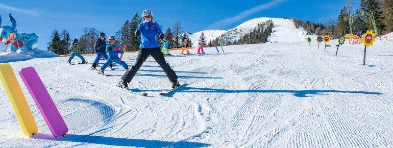 Zu sehen ist das Gebiet der Skischule in Christlum am Achensee in Tirol.