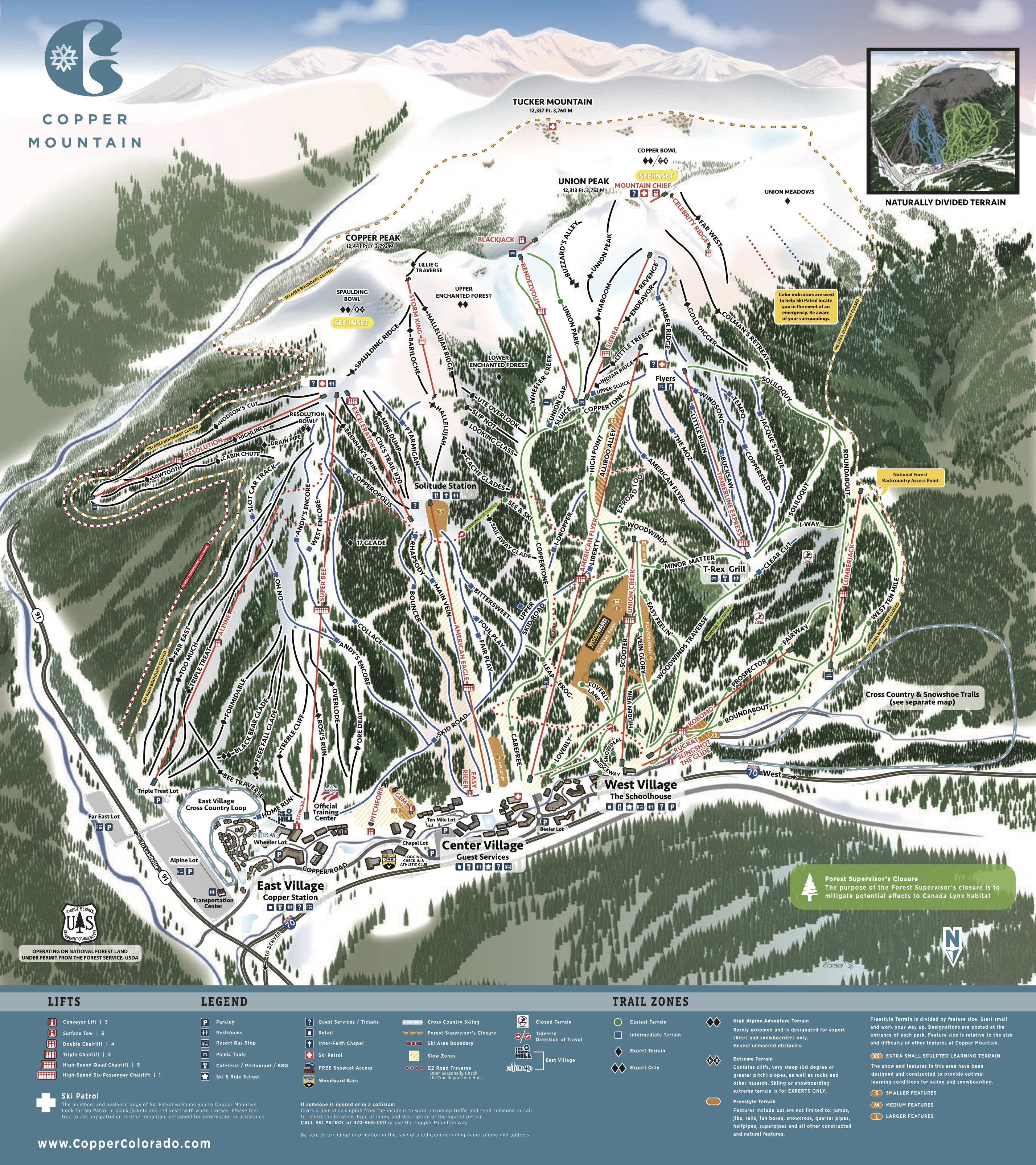 Pistenplan von Copper Mountain