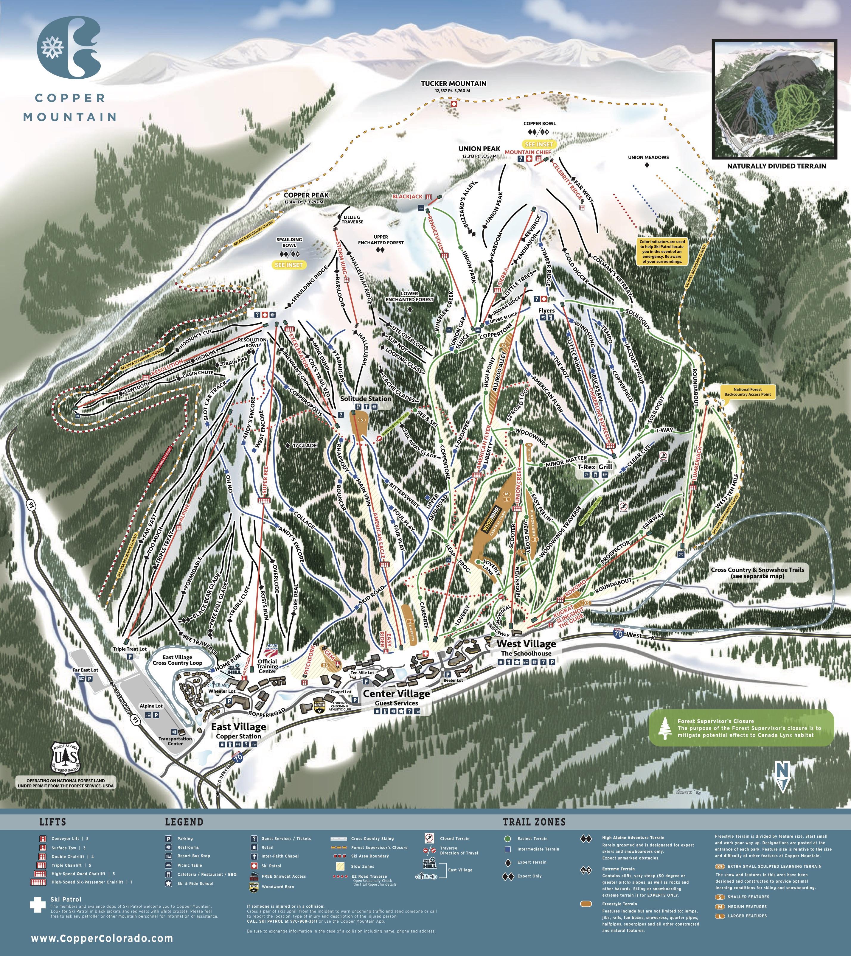 Pistenplan von Copper Mountain
