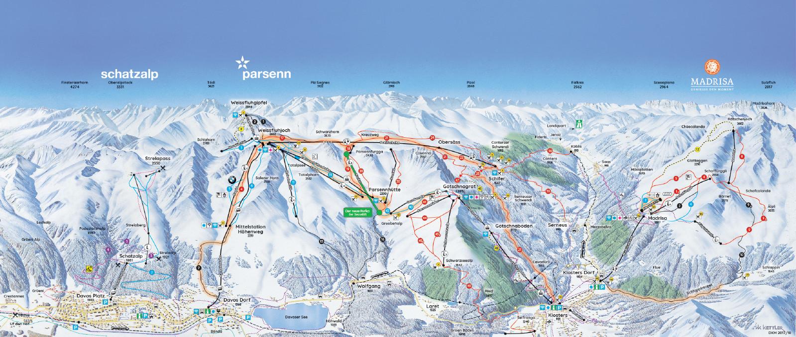Pistenplan von Davos Klosters Mountains