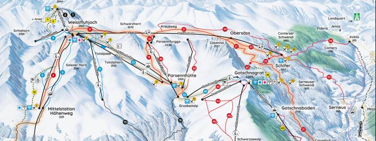 Pistenplan Parsenn (Davos - Klosters)