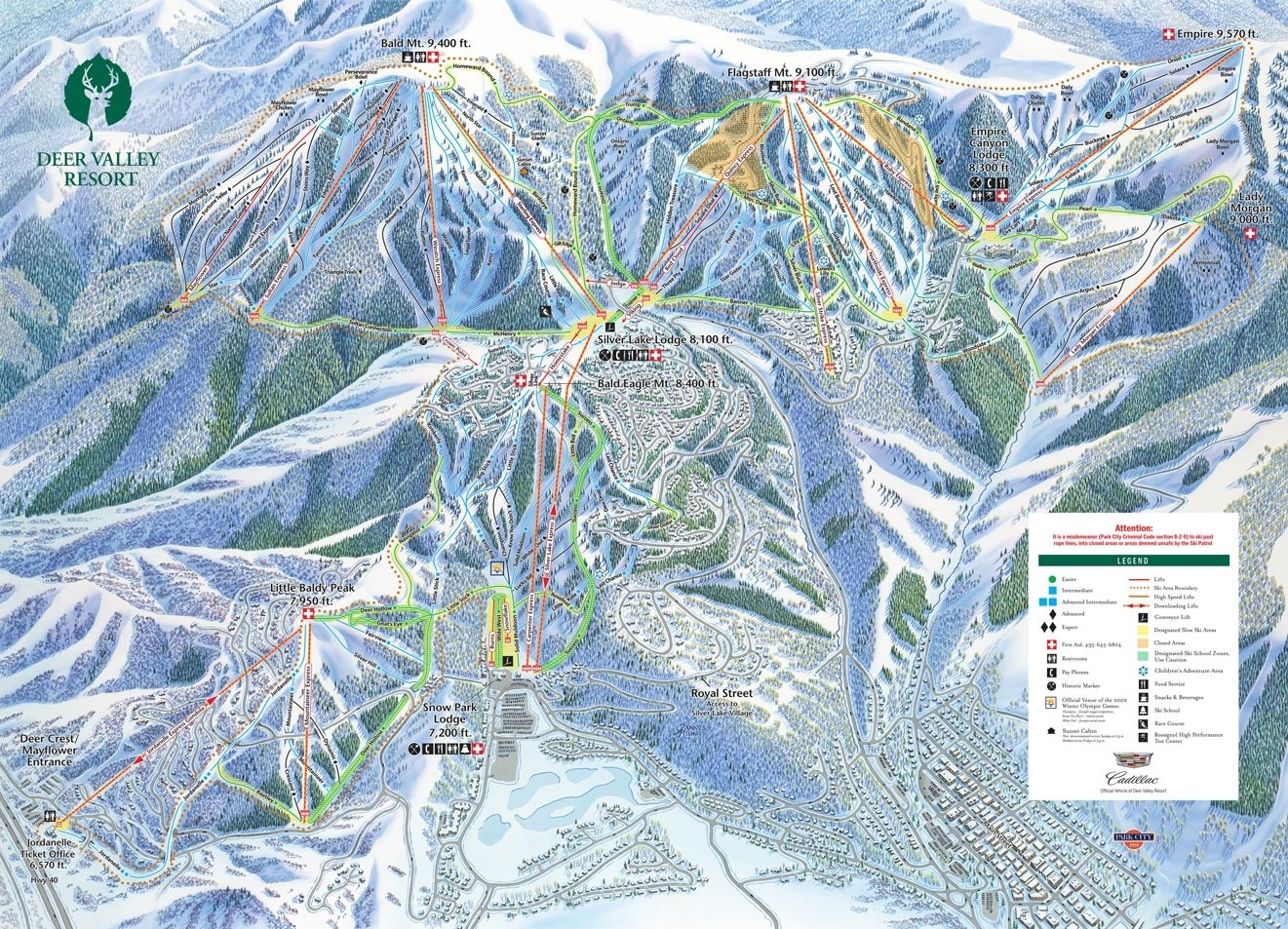 Pistenplan von Deer Valley