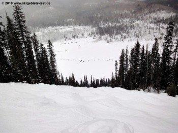 Das Schlussstück der Bull Run Abfahrt (Double Diamond) stellt auch die besten Wintersportler vor eine echte Herausforderung.