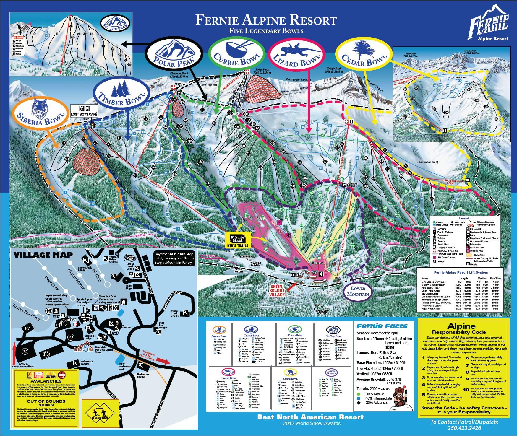 Pistenplan von Fernie Alpine Resort