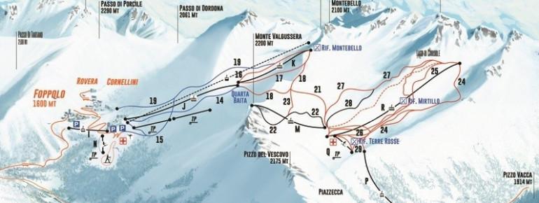 Pistenplan Foppolo - Carona (Brembo Ski)
