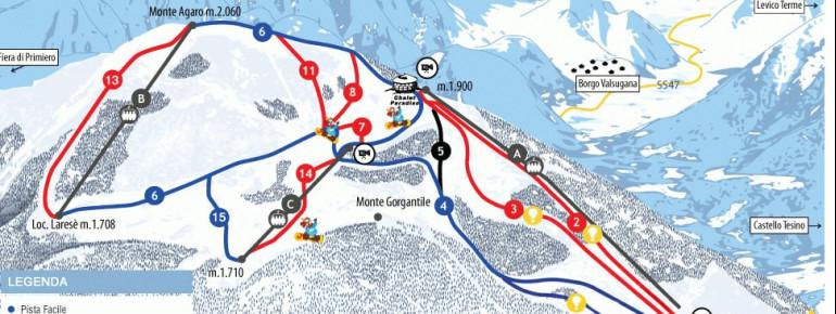 Pistenplan Funivie Lagorai Passo Brocon