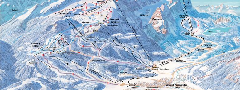 Pistenplan Skigebiet Garmisch-Classic