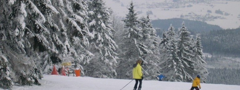 Nachdem im Geissleinpark fleißig geübt wurde, können sich die kleinen Skianfänger auch an die blau markierten Pisten wagen