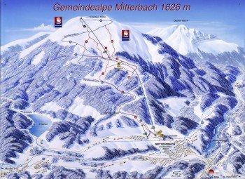 Pistenplan des Skigebiets Gemeindealpe in Niederösterreich.