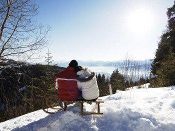 Beim Rodeln lässt sich das Alpenpanorama genießen.