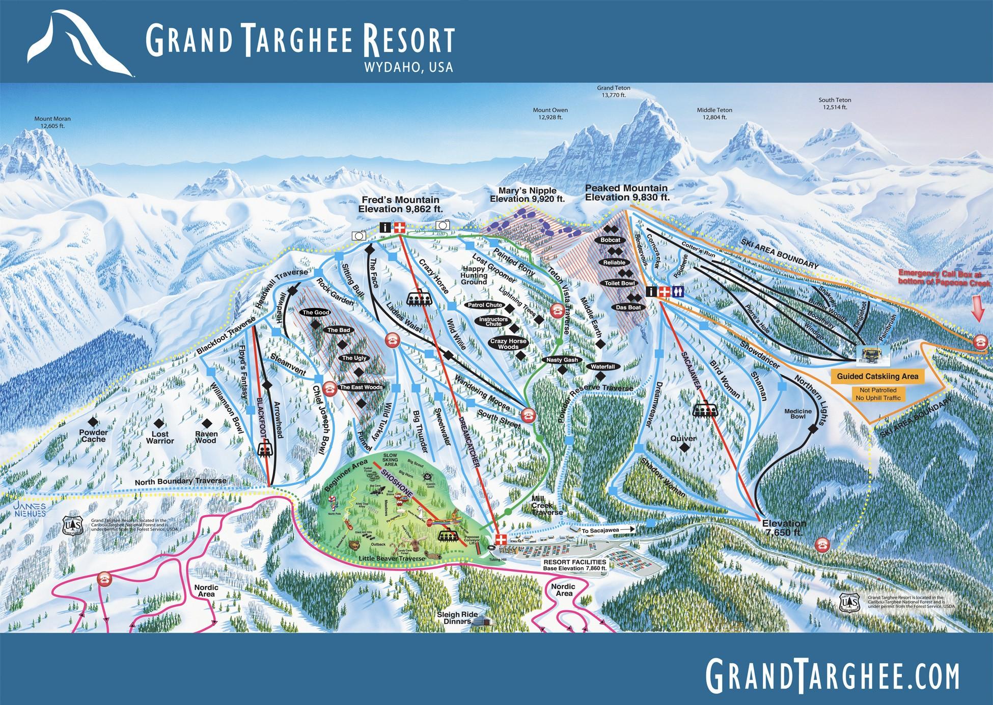 Pistenplan von Grand Targhee