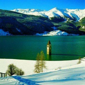 Der versunkene Turm in Reschensee