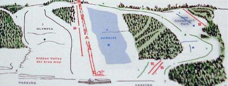 Pistenplan Hidden Valley Ski Area WI