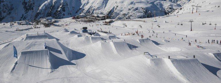 Blick auf den Ischgl Snowpark an der Idalp