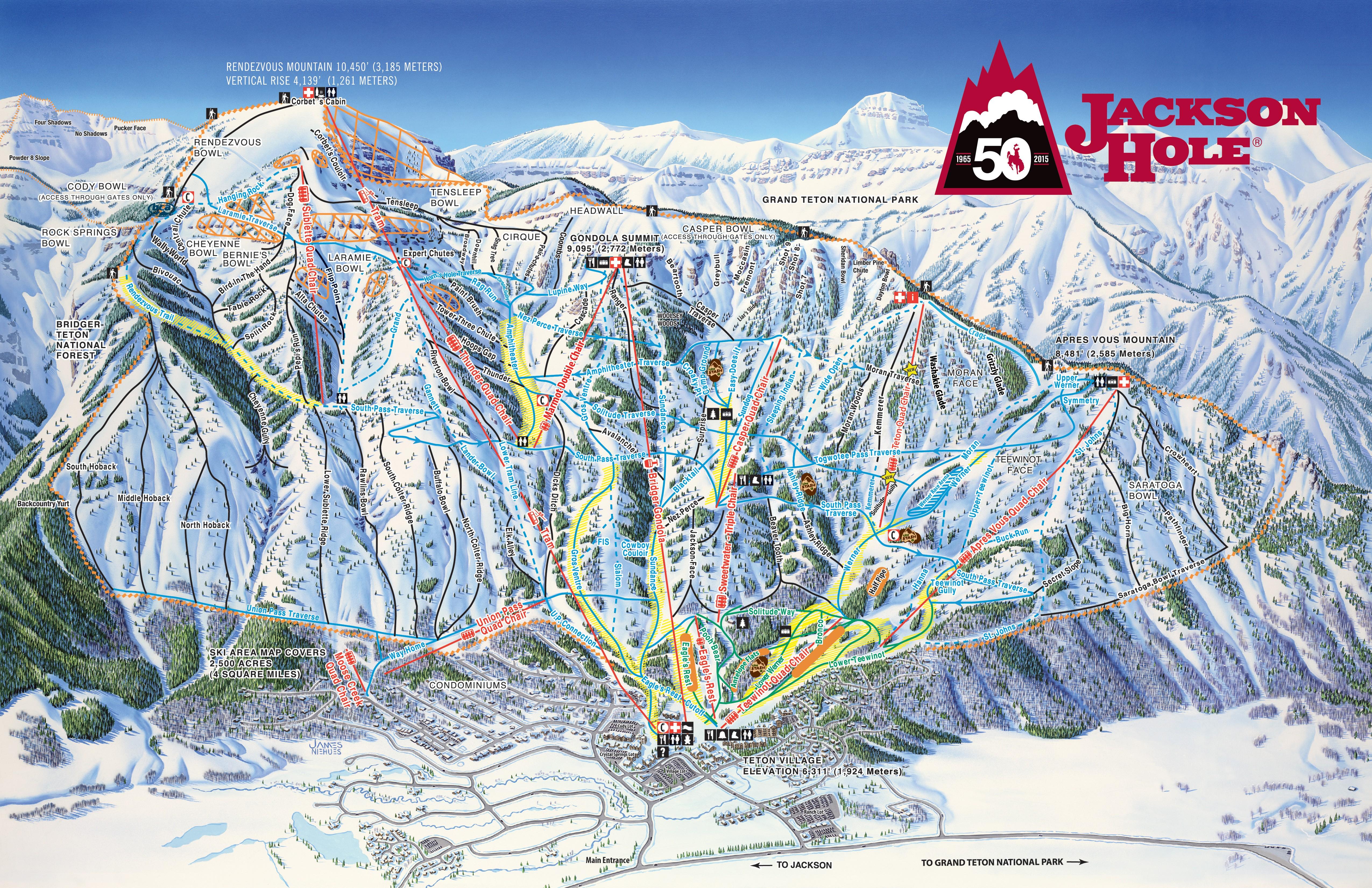Pistenplan von Jackson Hole