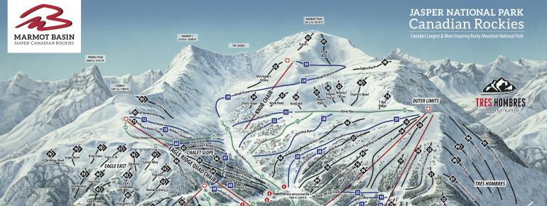Pistenplan Ski Marmot Basin – Jasper