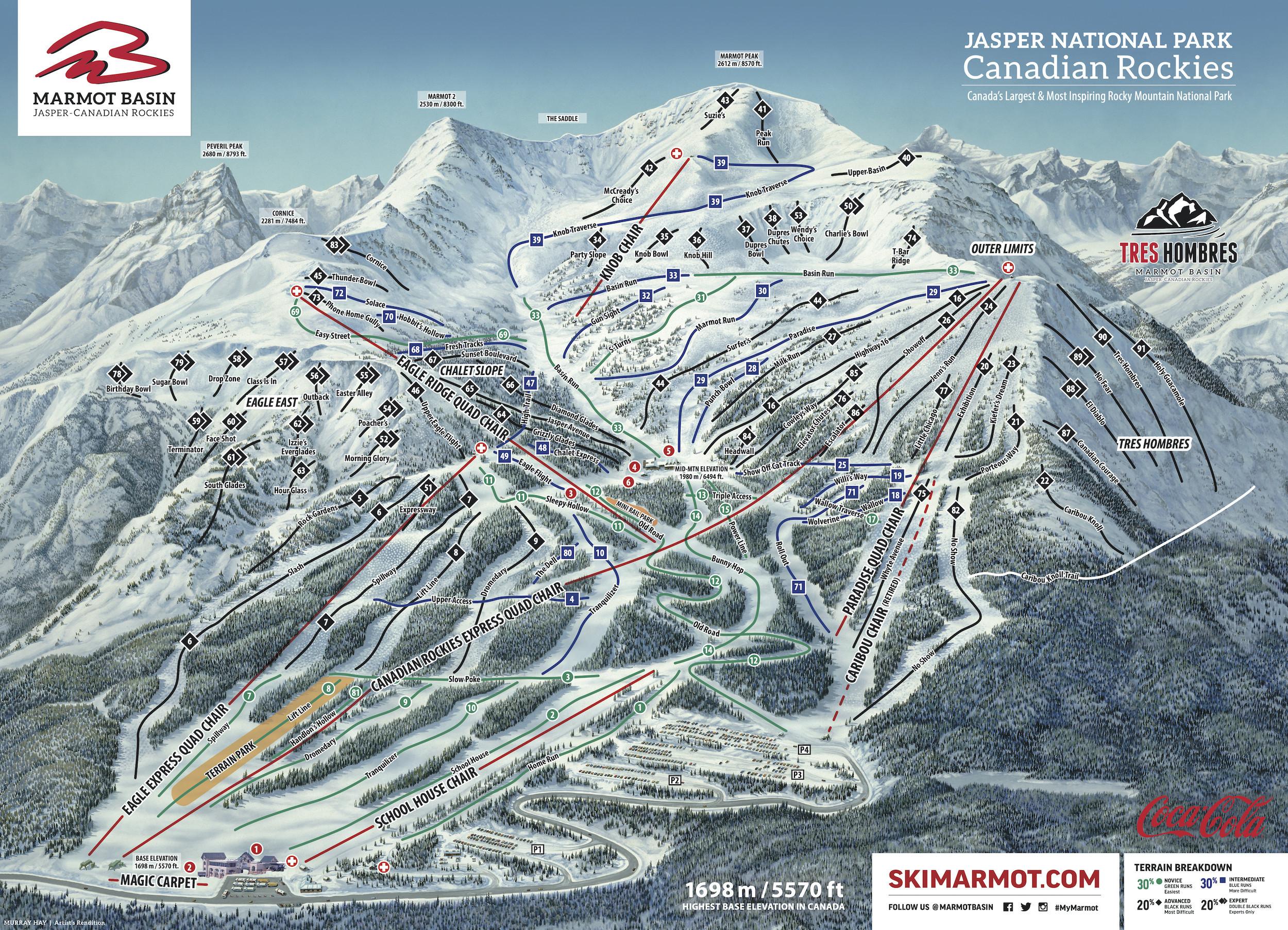 Pistenplan von Ski Marmot Basin – Jasper