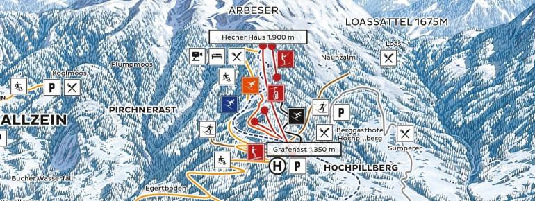 Pistenplan Kellerjochbahn Schwaz-Pill