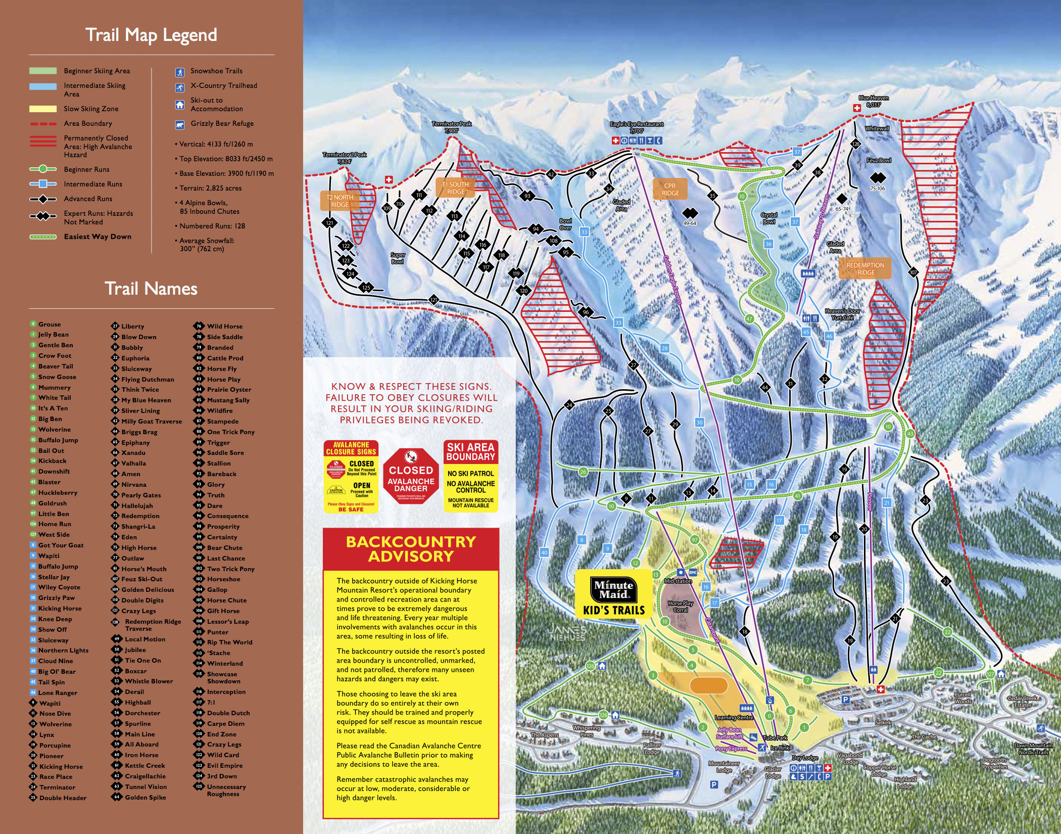 Pistenplan von Kicking Horse Resort - Golden, B.C.