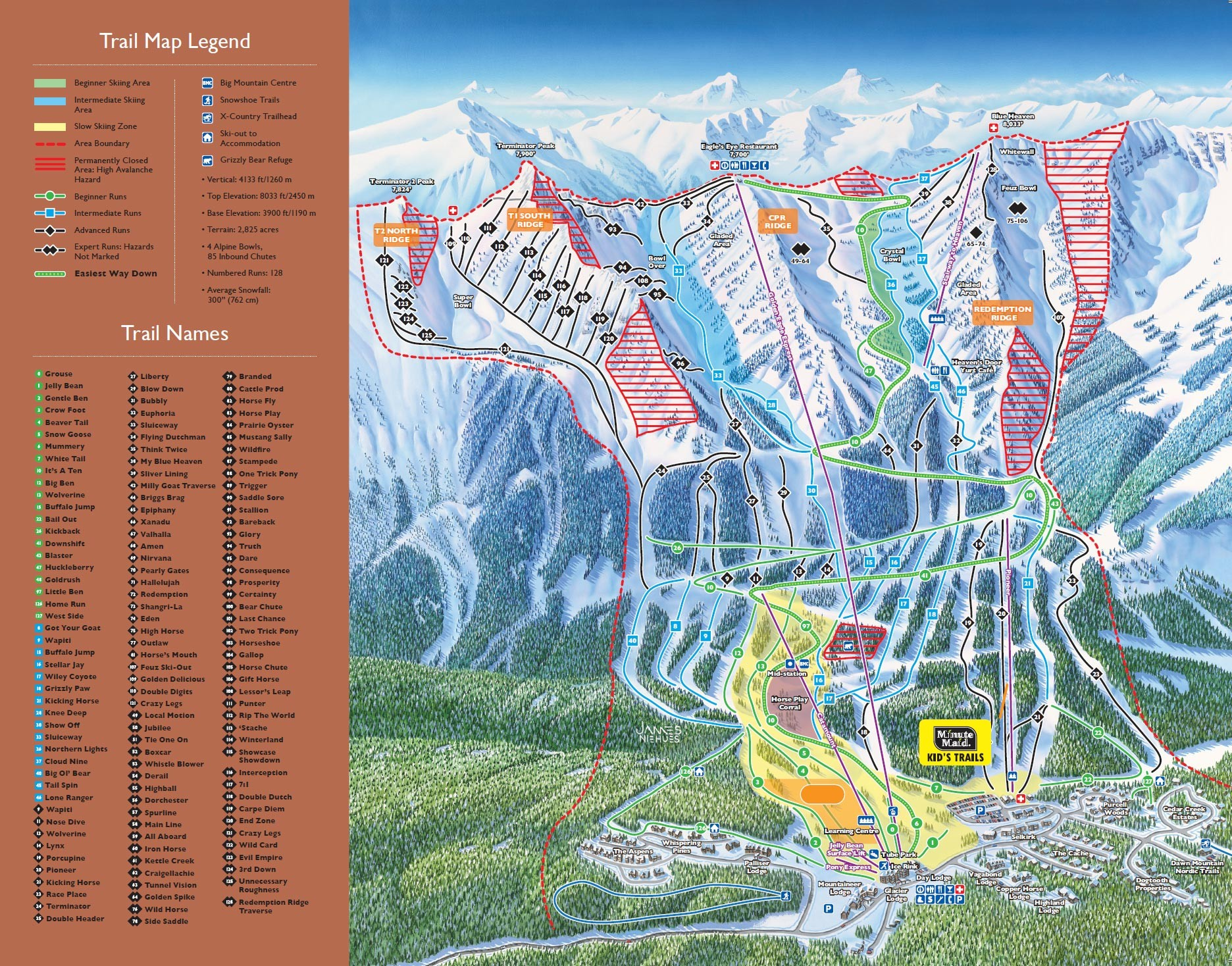 Pistenplan von Kicking Horse Resort