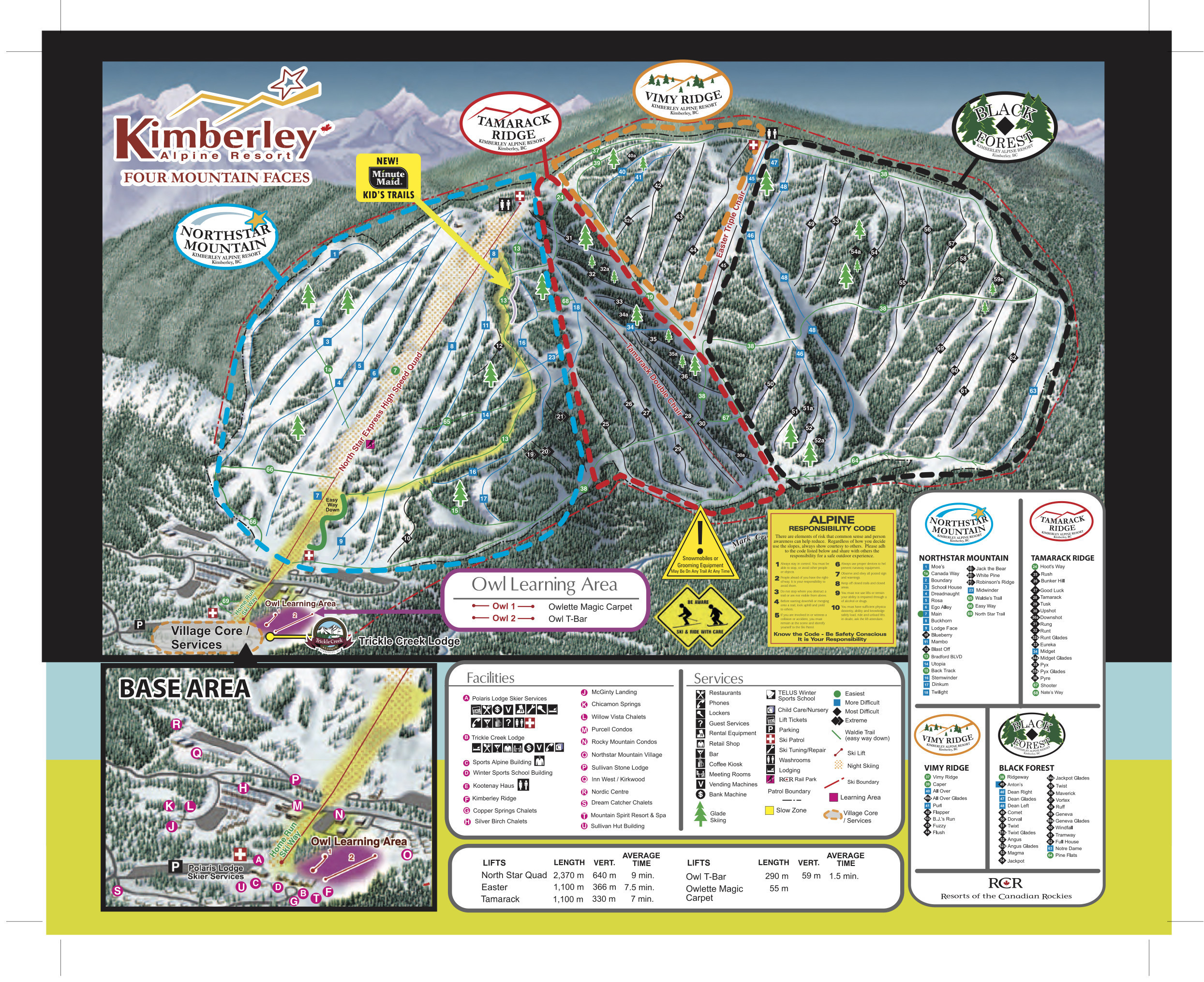 Pistenplan von Kimberley Alpine Resort