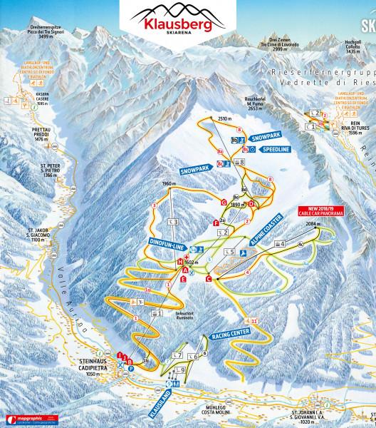 Pistenplan Klausberg (Skiworld Ahrntal) • Offene Lifte