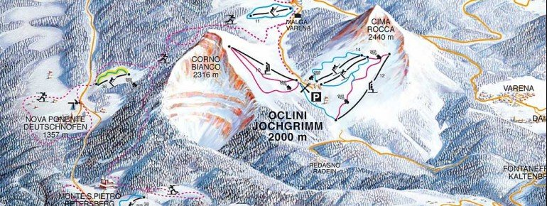 Pistenplan Jochgrimm - Passo Oclini - Dolomites