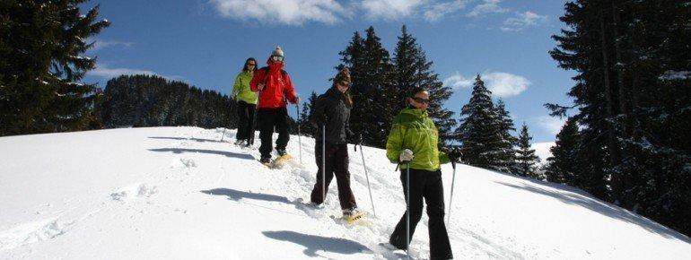 Auf Schneeschuhwanderungen kannst du die verschneite Landschaft erkunden.