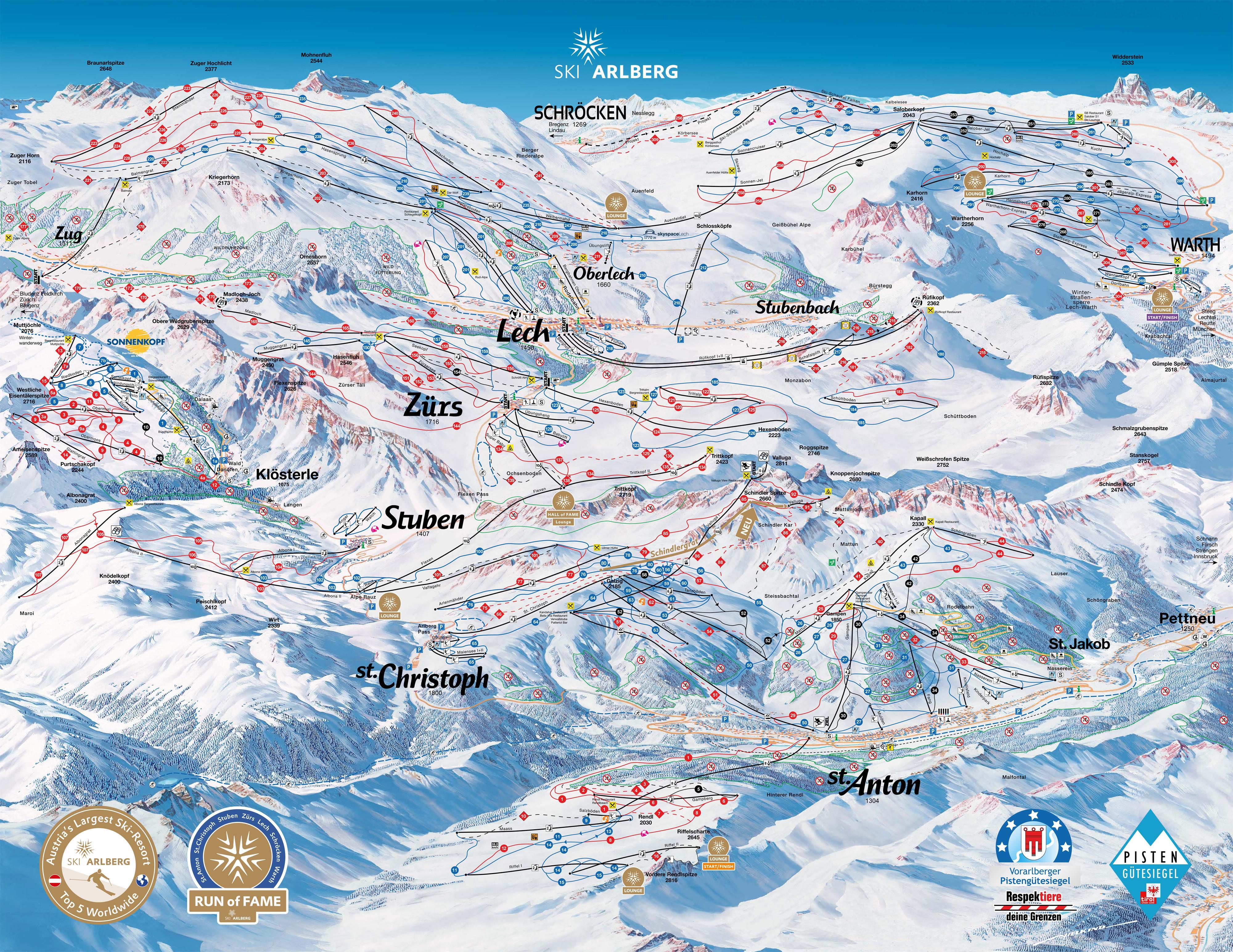 Pistenplan von Lech Zürs (Ski Arlberg)